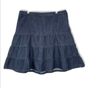 Christopher & Banks Jean Skirt Blue Tiered Ruffle